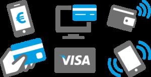 Diversas tarjetas de pago bancario